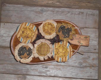 6 Primitive Assorted Country Sunflowers Summer Fall Grungy Flowers Bowl Fillers Ornies Ornaments Tucks