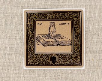 cat bookplates - cat on book bookplate stickers - Ex Libris - book plates - custom bookplate - bookworm for her - gift under 20 - book lover
