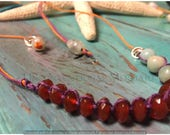 Adjustable Faceted Carnelian, Amazonite and Sterling Silver Hemp Choker