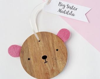 Big Sister Personalised Bear Keepsake - New Sibling Wooden Keepsake - Sister Gift - New Baby Gift - Wooden Bear Decoration