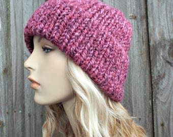 Double Thick Brim Knit Hat - Pink Womens Hat - Strawberry Pink Beanie - Warm Hat Thick Winter Beanie - Pink Hat Pink Beanie - READY TO SHIP