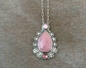 rose cut pink sapphire necklace - pink opal necklace - pink tourmaline necklace - unique necklace - pink stone necklace - boho necklace