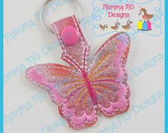 Butterfly Key Fob Snap Tab Machine Embroidery Design