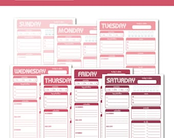 PRINTABLE Daily Planners - Meal Planner - Day Planner - Daily Schedule - To Do List - Weekly Planner / Pretty In Pink