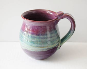 Purple and Merlot Gift Mug - 15 oz - Ready to Ship - Coffee Cup with thumb rest