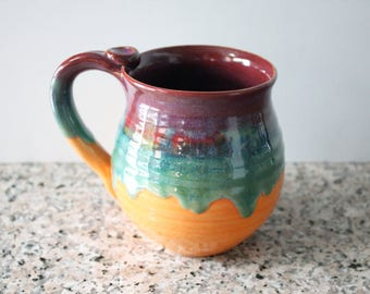 Colorful Mug - glazed in Merlot, Green and Orange - Coffee Cup - 14 oz - Ready to Mail
