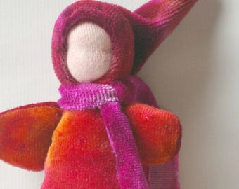 "Small Soft Pocket Doll: Hand Dyed Organic Toy (Waldorf Baby Doll or Gnome, 5"")"