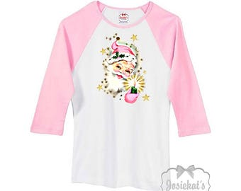 Santa Shirt - Pink Santa TShirt - Ladies Pink Christmas Baseball Shirt - Pink White Shabby Pink Santa Shirt -  Junior Tee Size S M L Xl 2XL