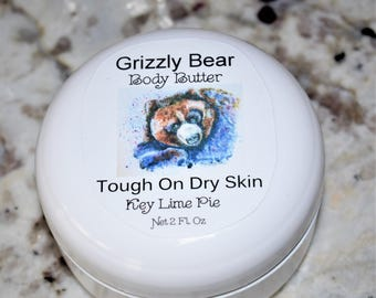 Organic, Grizzly bear, Body Butter, Body Creme, Handmade, Grizzly Bear Card, Key Lime Pie, Beauty Products, Bear Notecard, Watercolor Bear