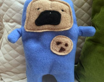 """Bruce - The """"Cookie Time"""" Pug-Jama Party Bummlie ~ Stuffing Free Dog Toy - Ready To Ship Today ~ Blue Pajamas"""