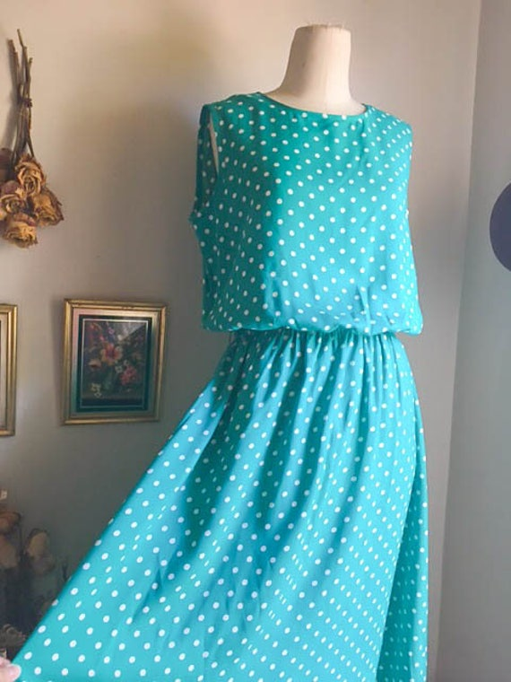 Nice Vintage 80s 90s Polka Dot Midi Dress