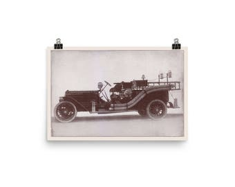 1916 Antique Fire Engine Print Reproduction | Edwardian Firefighting
