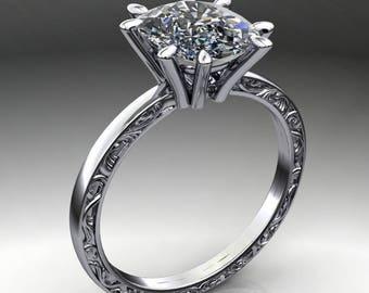 suri ring - 2.3 carat cushion cut ZAYA moissanite ring, cushion cut ring