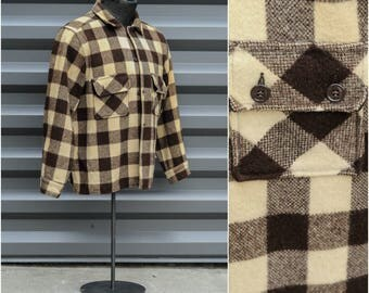 Large, 1940s, Wagon Plaid, Brown Plaid Shirt, Brown Plaid Jacket, Yellow Plaid Jacket, Plaid Cruiser Jacket, Plaid Wool Shirt, USA