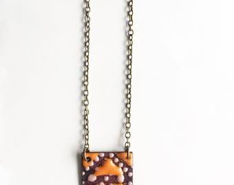 Orange and Pink Enamel Square Necklace
