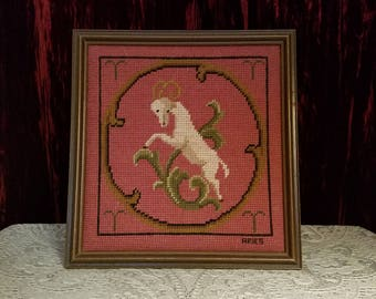 Vintage Aries Ram Needlepoint Wall Hanging in Wood Frame, 1960's Zodiac