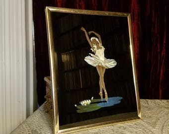 Vintage 1980's 1985 Swan Lake Ballerina Ballet Print, Reverse Painted Glass Foil Effect