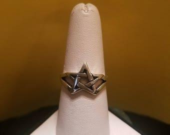 Vintage Sterling Silver Pentacle Pentagram Ring Size 8