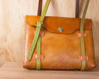 Laptop Tote - Handmade Leather Laptop Bag Case in the Persistence Pattern with Mayflowers - Pink, Green, and Antique Tan