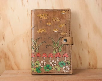 Moleskine Notebook - Leather Journal Cover in the Ronja Pattern - Ferns, Mushrooms and Shamrocks in Antique Brown - Third Anniversary Gift