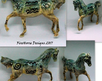 Ceramic Horse Sculpture Finished in Southwestern Motif Watercolor Underglazes
