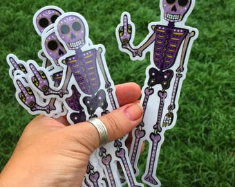 Day of the Dead Skeleton Original Art Sticker by Surly Amy Davis Roth