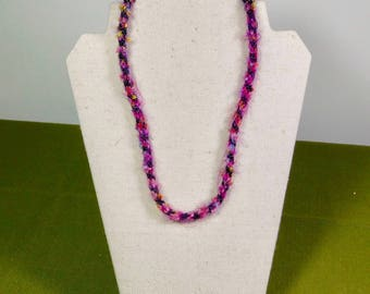 Warm Fuzzy Pink Kumihimo 22 inch Necklace
