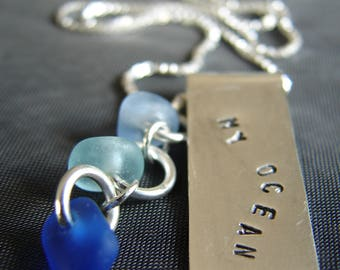 Sea Glass Jewelry / sea glass pendant / silver necklace / Ocean necklace / gift for her / beach glass necklace / gift for ocean lover