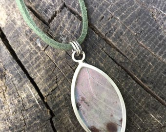 Butterfly Wing Necklace - Sterling Silver and Vegan Cord
