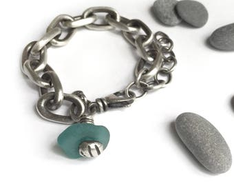 Heavy Vintage Sterling Silver Oval Cable Chain Bracelet Turquoise Teal Seaglass Charm Recycled Upcycled Adjustable Size Swivel Clasp