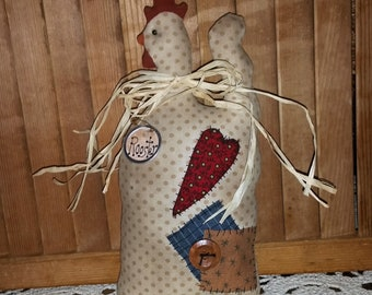 """12"""" Country Farmhouse Fabric Rooster Kitchen Decoration 