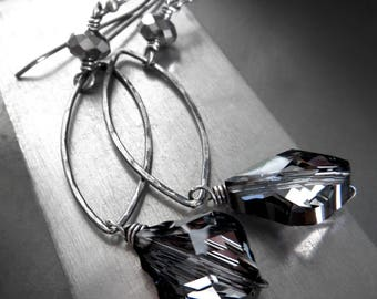 Dark Baroque - Long Swarovski Crystal Earrings with Charcoal Black Crystals, Hammered Oxidized Sterling Silver, Contemporary Modern Jewelry