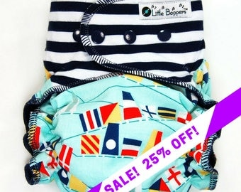 SALE! Made to Order Cloth Diaper or Cover - Nautical Flags (Woven) with Navy and White Striped Stretchy Wings - Sailing - Custom Nappy