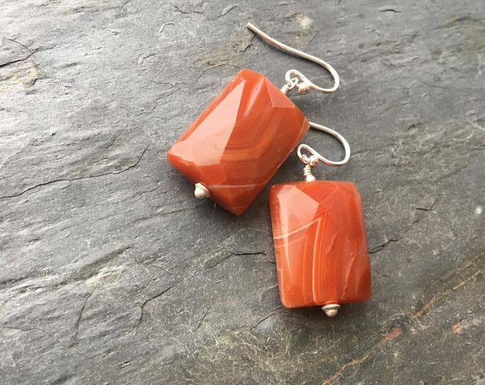 Faceted Rectangular Carnelian Agate Earrings Orange Striped Sterling SIlver Talisman Chunky
