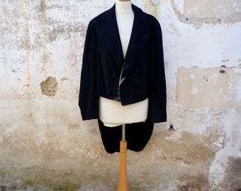 Vintage 1910/1930 French men tuxedo tail double breast size L