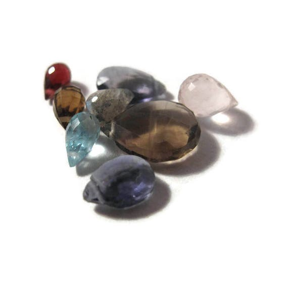 Briolette Grabs : Mixed Lot of 8 Gemstone Beads for Making Jewelry, Apatite, Rose Quartz, Smoky & Olive Quartz, Labradorite (L-Mix21f)