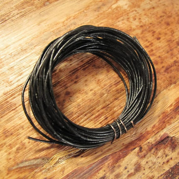 15 Feet of Black Leather Cord, 5 Yard Spool of .5mm Round Cord For Jewelry, Craft Supplies, Delicate Black Leather, Natural Leather