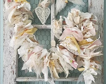 Garland, Burlap and Lace Banner, Shabby Chic Garland, Fabric Garland, Rustic Wedding, Woodland Nursery, Soft Pastel Banner, Farmhouse Decor