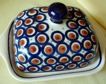 Vintage Boleslawiec Pottery Handmade in Poland Butter Dish Lid, Plate w Cobalt Blue, White Circles, Rust Ball w Blue Eye.