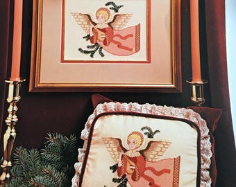 Cross Stich Guide, Angel with Lute, Vintage Cross Stitch, Vintage Angel Cross Stitch, Cross Stitch Guide, Etsy, Etsy Supplies