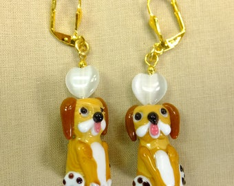 Hearts Say I Love Pupppy Dogs Lamp Glass Dangle Earrings