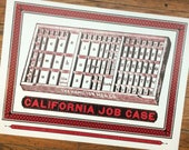 CALIFORNIA JOB CASE poster of the letterpress type case drawer Hand Printed hamilton type case lead type printmakers gift studio decor