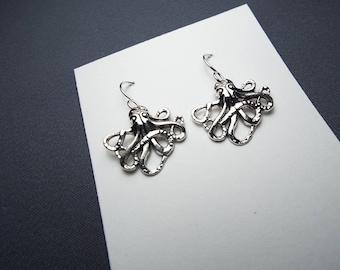 Octopus Earrings Sterling silver ear wires