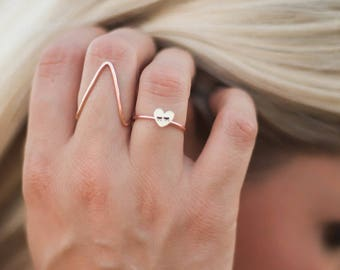 Gold Triangle Ring Big Triangle Rose Gold filled Gold filled Ring Hammered Statement ring geometric anniversary band stacking