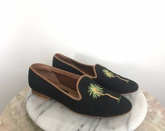Isla - Black Palm Tree Loafers by ZALO. Size 7 1/2 Hand Made in Spain.