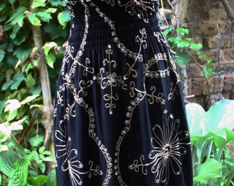Fringed hippie halter dress black sequin embroidered India rayon