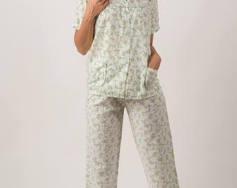 Vintage Tiny Floral Print Night Shirt/Pants Set (Size Small)