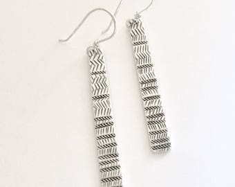 Sterling Silver Stamped Earrings, pattern, textured, dangle, rectangle, handmade