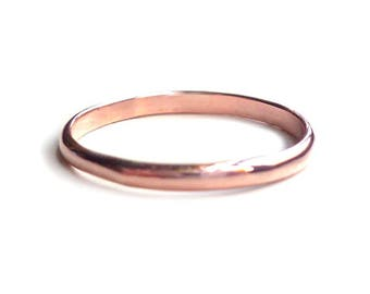 Copper Ring - Copper Stacked Ring - 2mm Ring - Half Round Ring - Mod Ring - Copper Band - Custom Ring - Stackable Ring - Made In Brooklyn