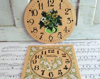 Pair of Vintage Wooden Clock Faces